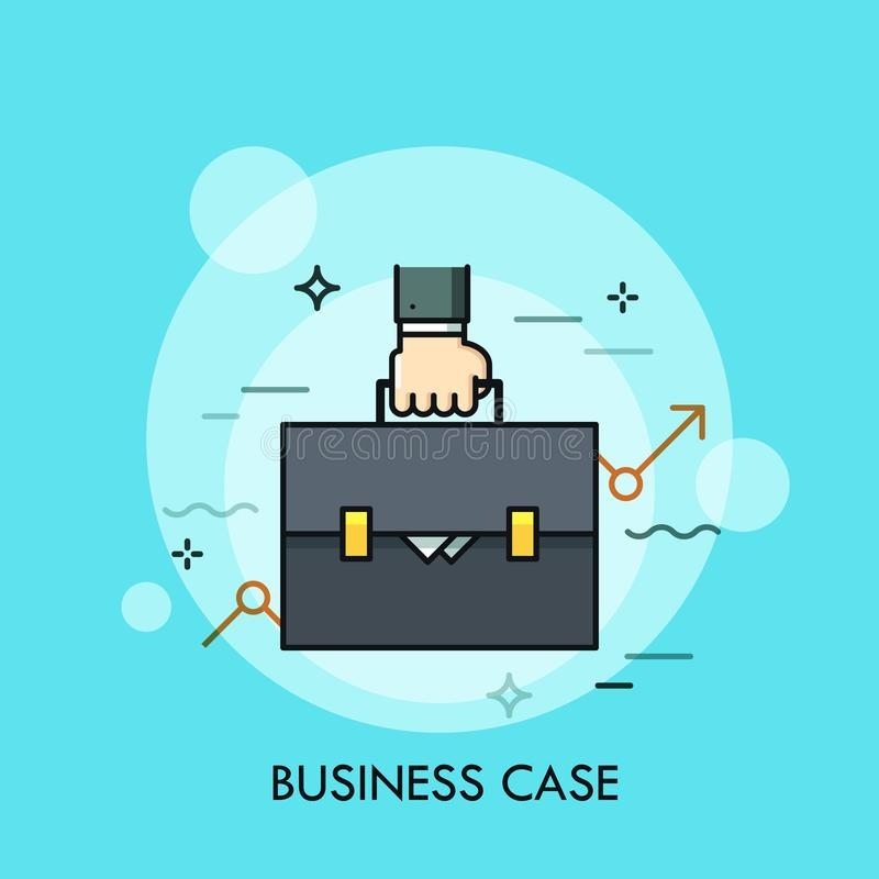 Hand holding briefcase and ascending graph. stock illustration