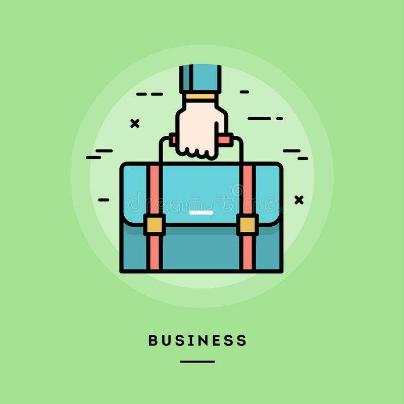 Hand holding a briefcase, flat design thin line banner stock illustration