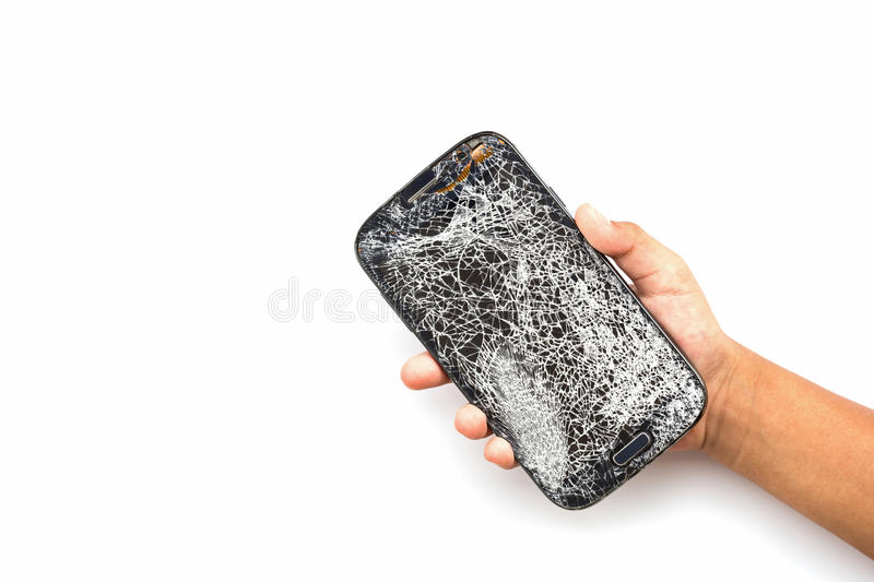 Hand holding broken smart phone isolated on white. Background stock photo