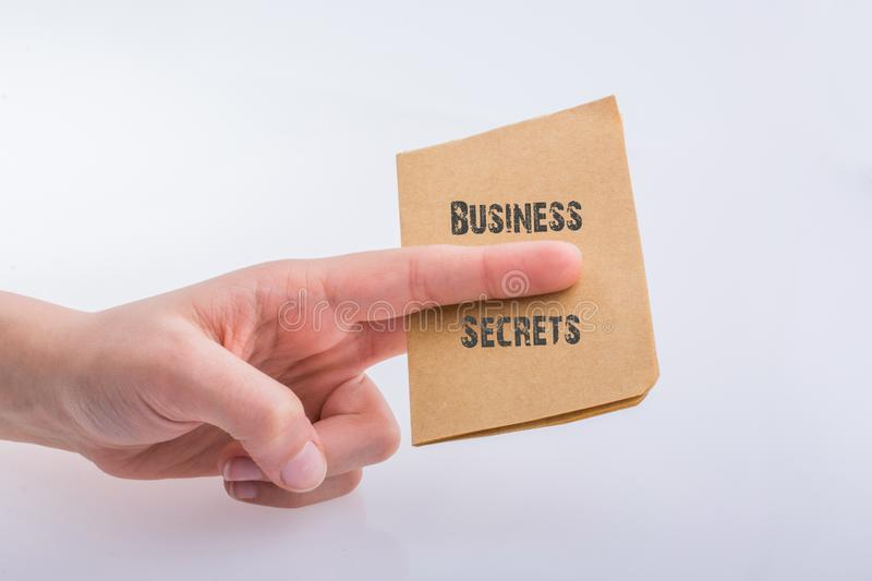 Hand holding a brown color paper with BUSINESS SECRETS text royalty free stock photos