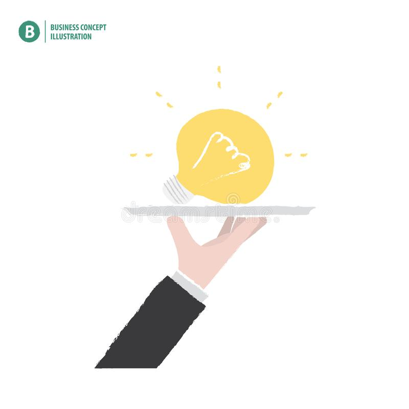 Hand holding a bulb on a platter meaning the idea on white background illustration vector. Business concept. royalty free illustration