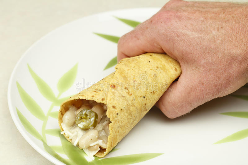 Hand Holding a Burrito stock photo