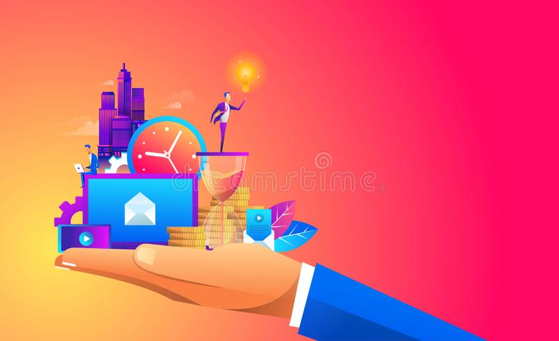 Hand holding a business ,digtal object and with a contemporary smart city and apps icons. Augmented reality and internet. Of things concept vector illustration