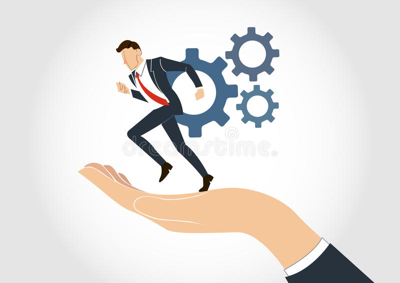 Hand holding Businessman running with gear vector. EPS10 royalty free illustration