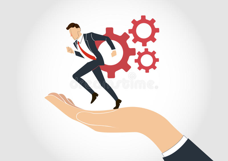 Hand holding Businessman running with gear vector. EPS10 vector illustration