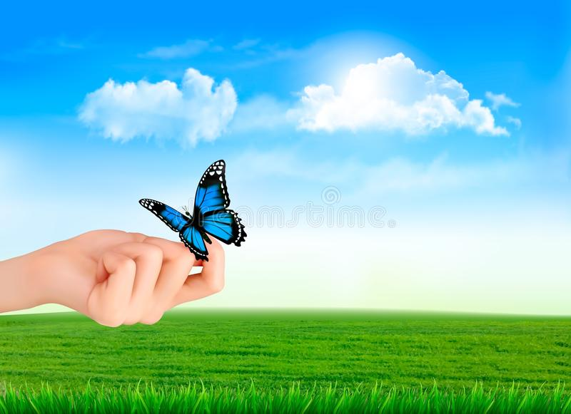Hand holding a butterflies against a blue sky. stock illustration
