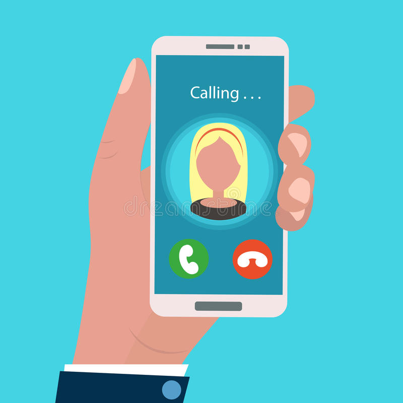 Hand holding calling mobile phone in flat design style. incoming call. stock illustration