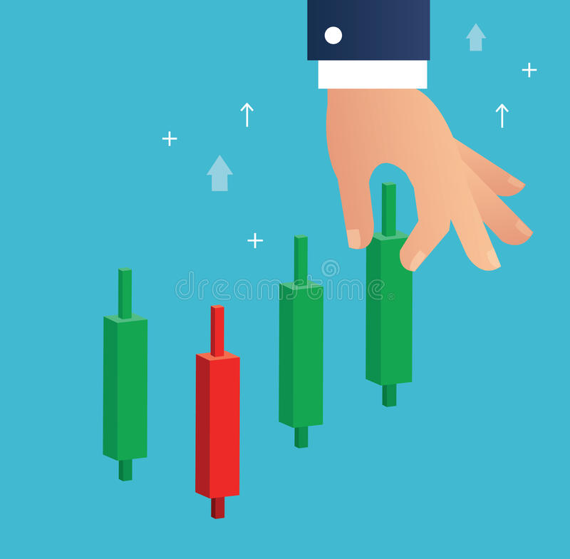 Hand holding a candlestick chart stock market icon vector background vector illustration