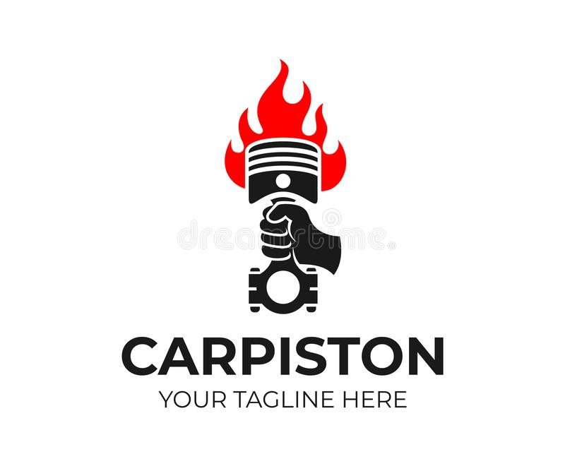 Hand holding a car piston in the form of a torch with fire, logo design. Ð¡ar repair shop, auto parts royalty free illustration