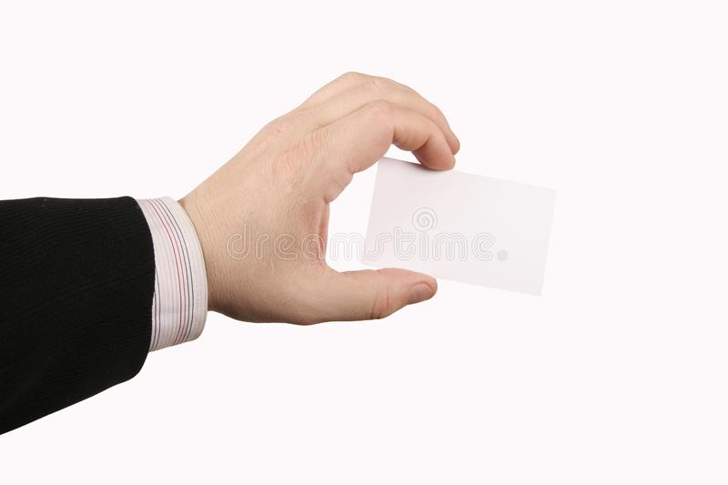 Hand holding card royalty free stock photo
