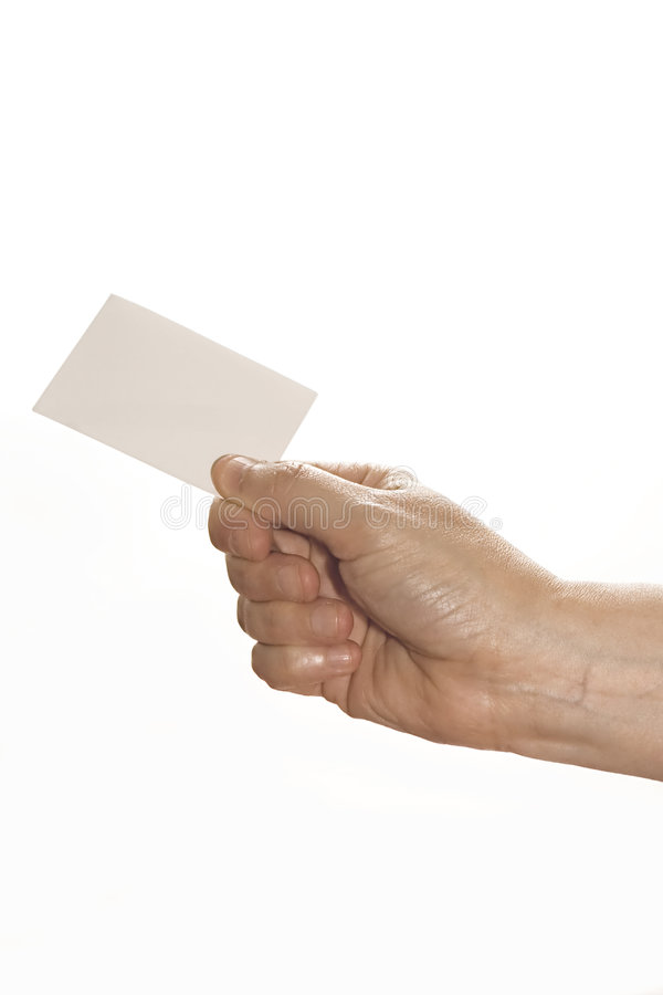 Hand Holding Card. Hand holding blank white card. Put your own text over card royalty free stock photography