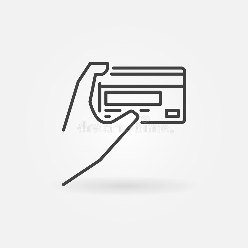 Hand holding card vector outline icon. Card payment symbol royalty free illustration