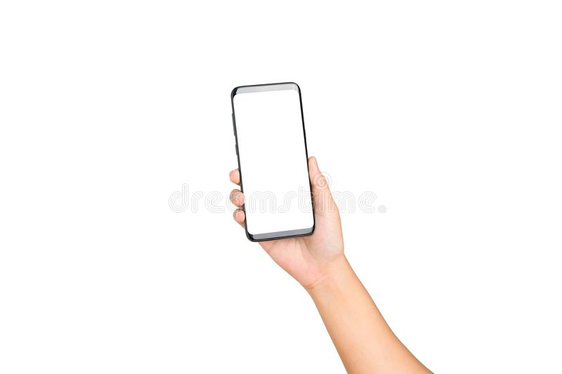 Hand holding cell phone blank on white screen royalty free stock photography