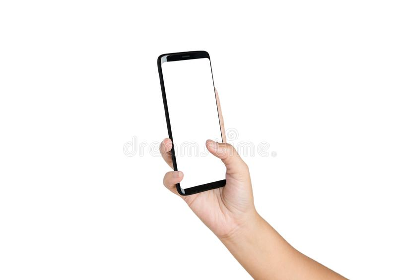 Hand holding cell phone blank on white screen stock photo