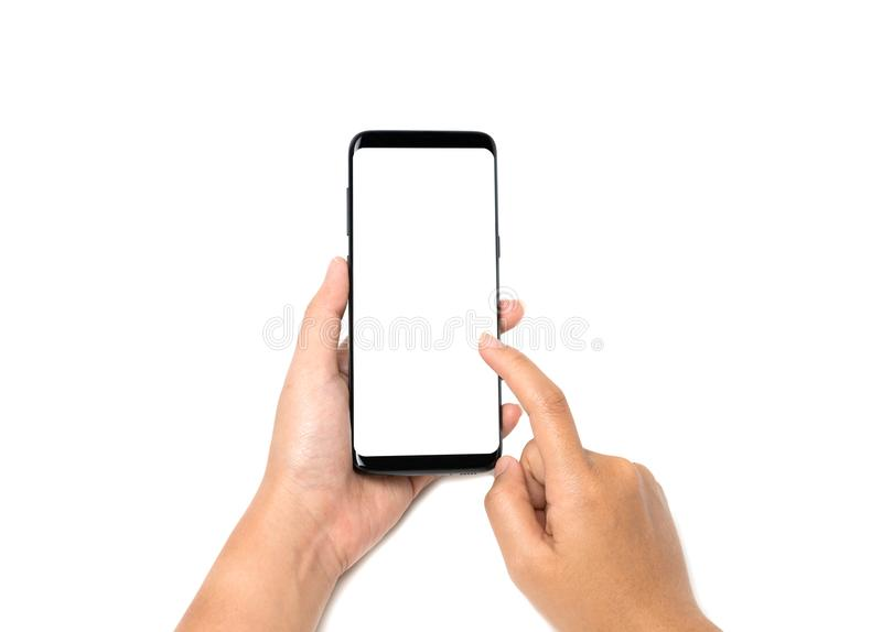 Hand holding cell phone blank on white screen and white background royalty free stock photography