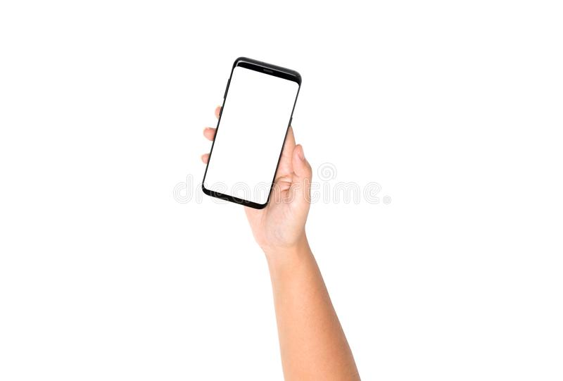Hand holding cell phone on top view with blank on white screen stock images