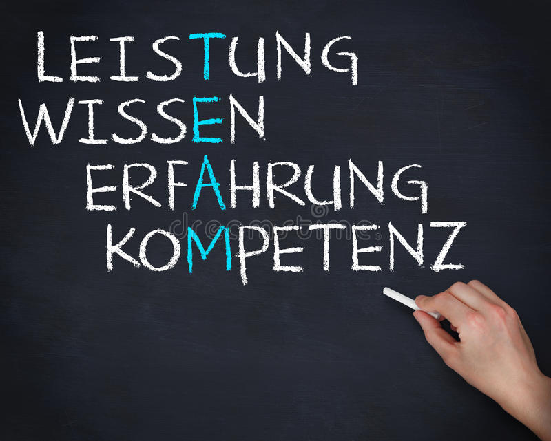 Hand holding a chalk and writing anagram of team in german. On blackboard royalty free stock image