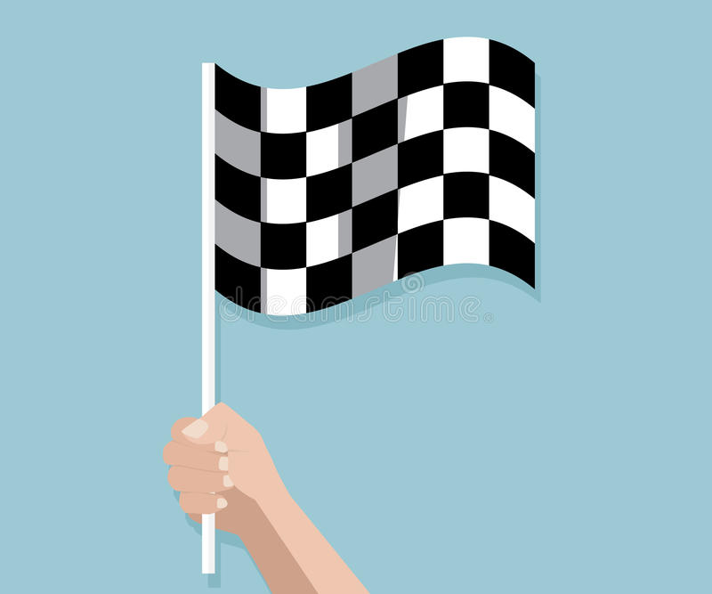Hand holding checkered race finish flag royalty free illustration
