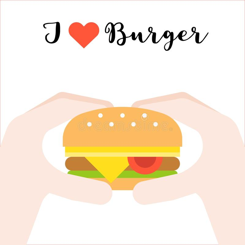 Hand holding cheese burger, I love burger, fast food concept fla stock illustration
