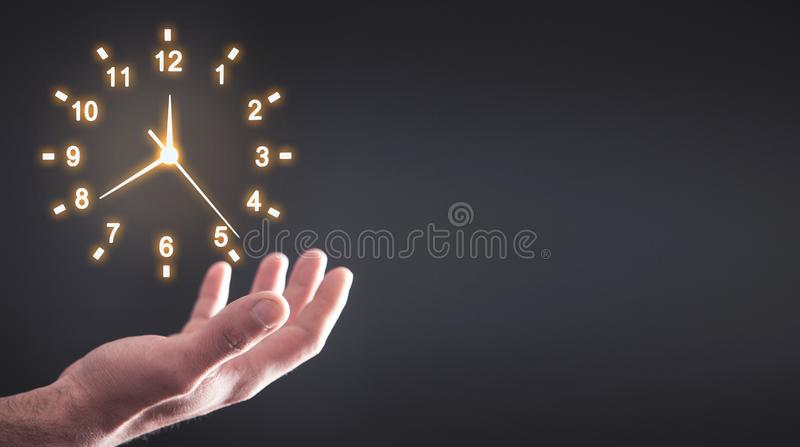 Hand holding clock. Business time management royalty free stock images