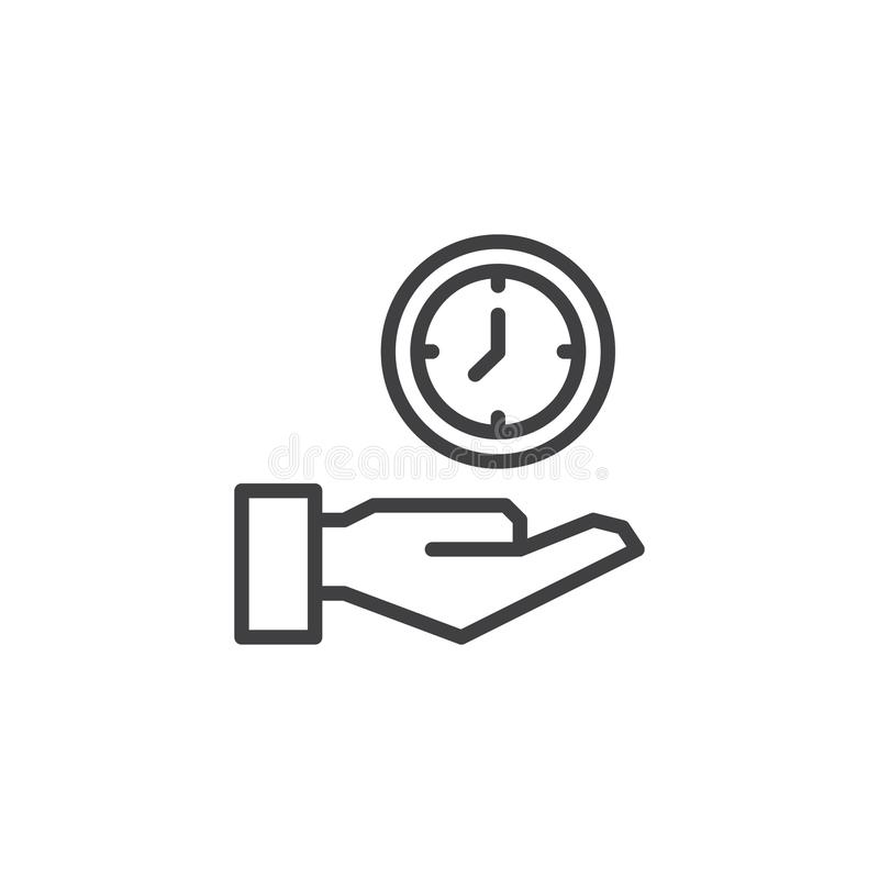 Hand holding a clock outline icon vector illustration