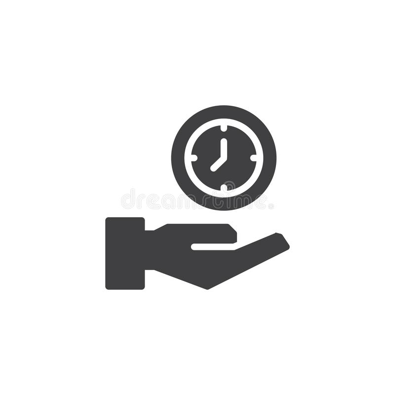 Hand holding a clock vector icon royalty free illustration