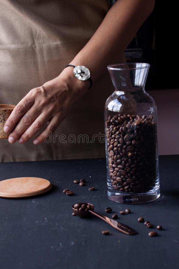 Hand holding coffee cup royalty free stock images