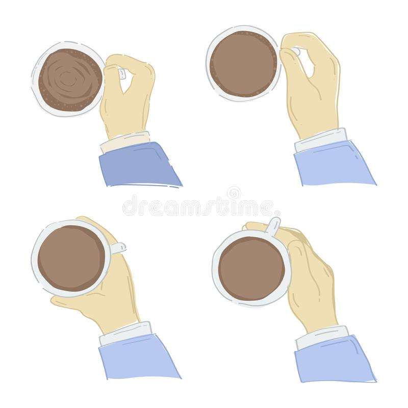 Hand holding a coffee cup vector illustration