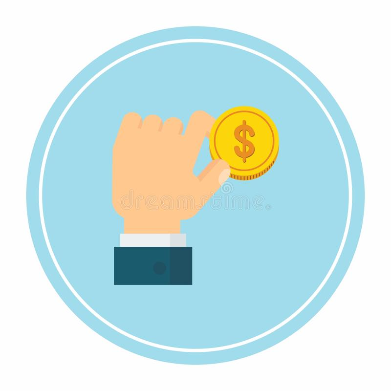 Hand holding coin stock illustration