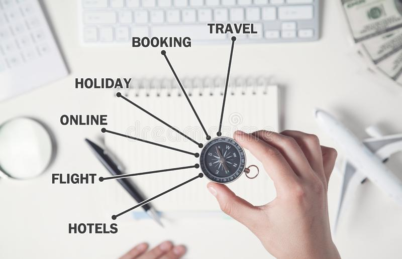 Hand holding compass. Online booking. Concept of travel stock photos