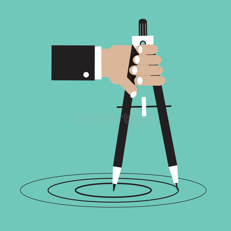 Hand Holding A Compass. royalty free illustration