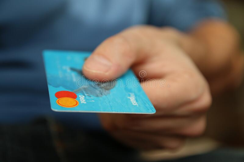 Hand holding credit card royalty free stock photo