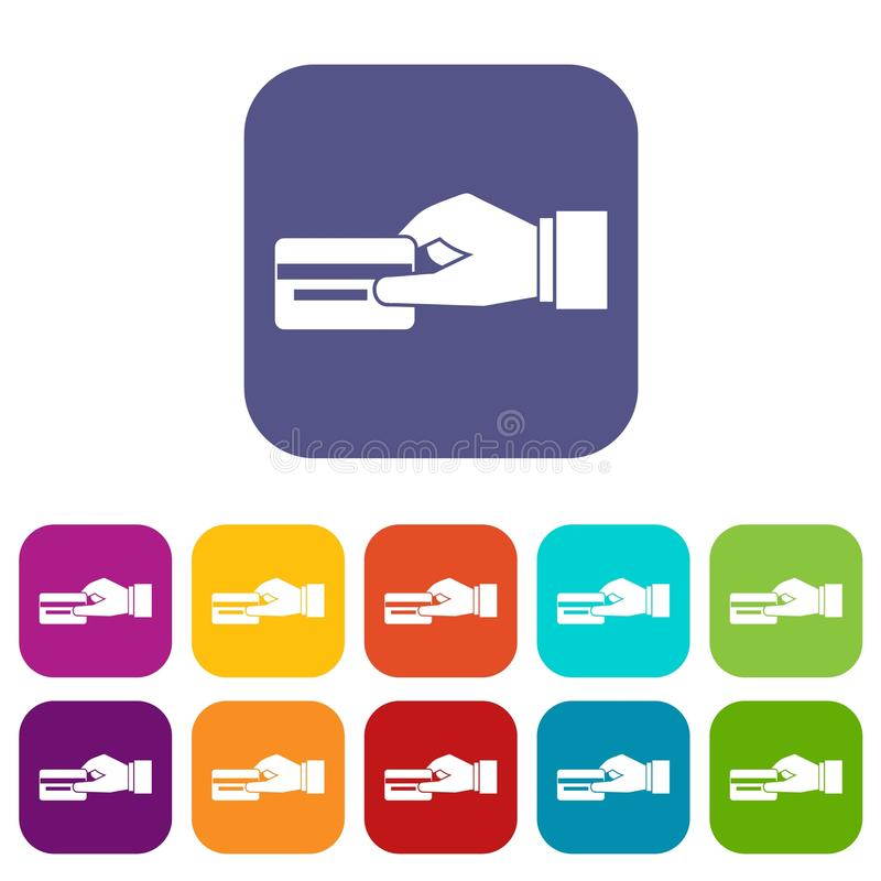 hand holding a credit card icons set stock vector illustration of rh dreamstime com