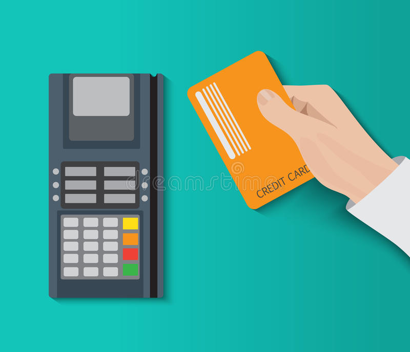 Hand holding credit card and using pos terminal. Fast payment. royalty free illustration