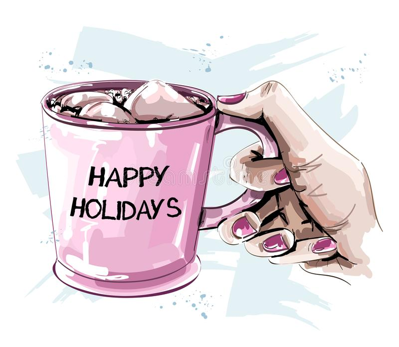 Hand holding cup with marshmallow. Beautiful winter set. Sketch. stock illustration