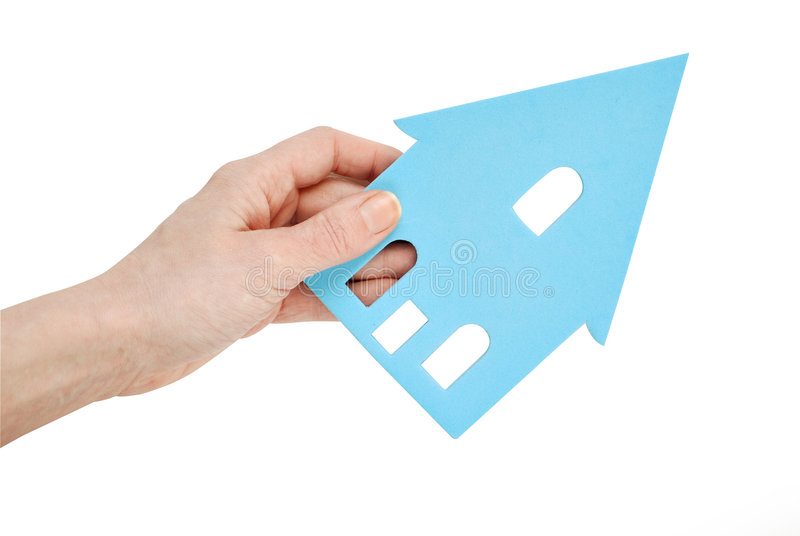 Hand holding cutout house stock photos