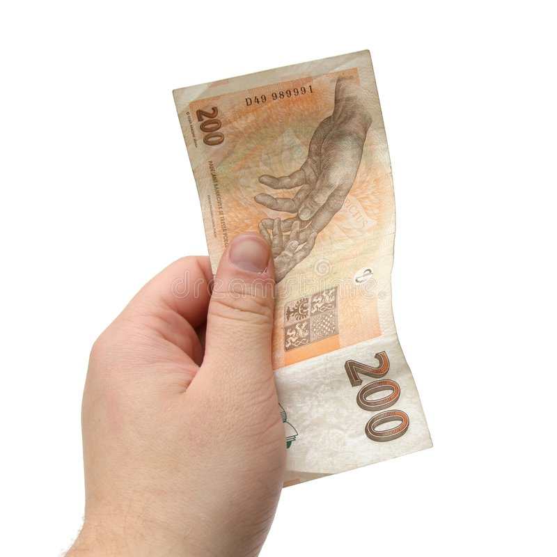 Hand holding Czech bank note royalty free stock photos