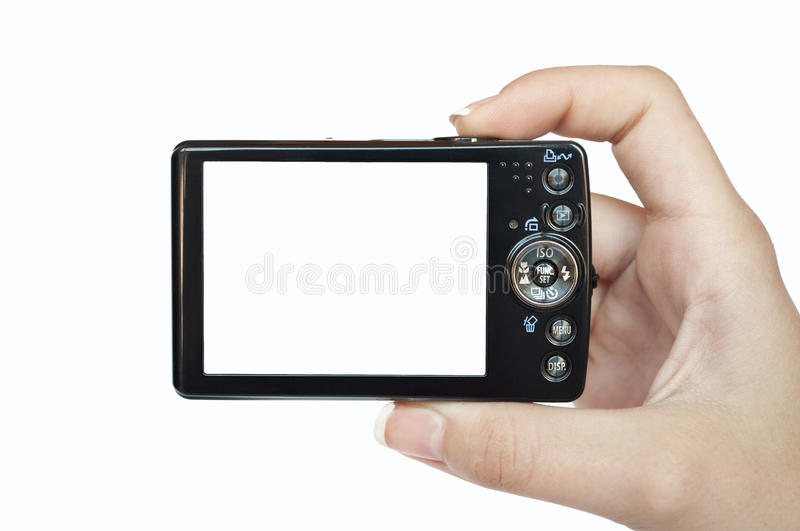 Hand holding digital camera rear view. Empty space for your picture or text royalty free stock image