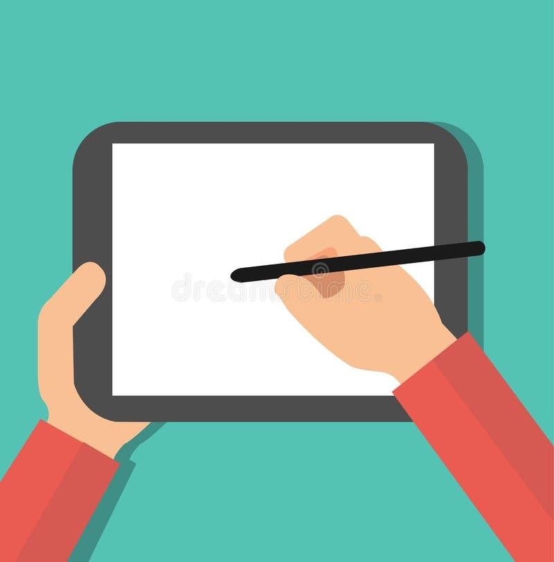 Hand holding digital pen drawing on graphic tablet. Flat design graphics elements. vector illustration