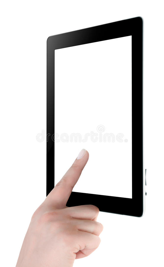 Hand Holding Digital Tablet Stock Photo