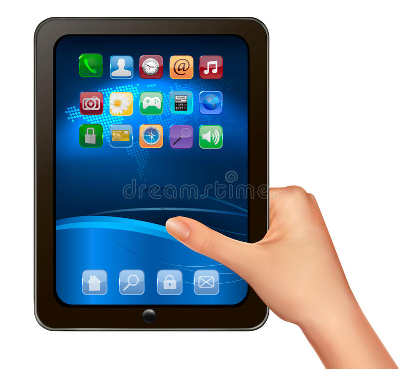A hand holding digital tablet computer with icons. stock illustration