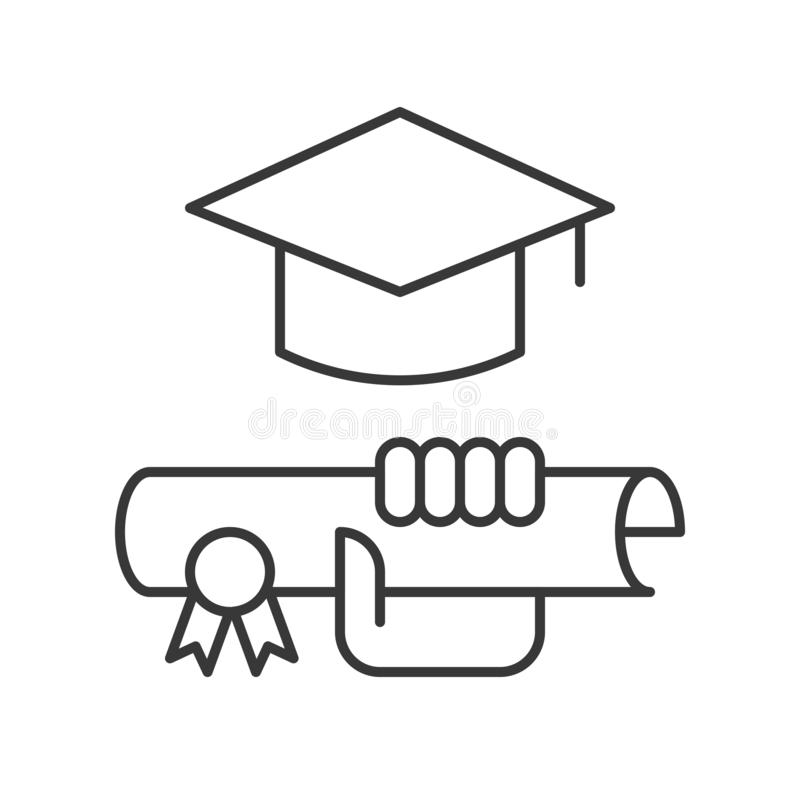 Hand holding diploma certificate and square academic cap, education icon concept.  royalty free illustration