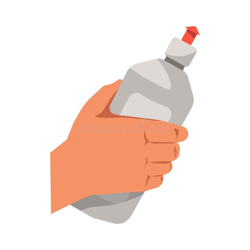 Hand holding dish washing liquid vector flat isolated icon stock illustration