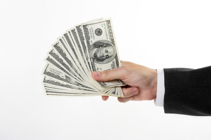 Download Hand holding a dollars stock photo. Image of isolated - 11357558