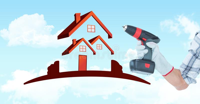 Hand holding drill machine by house shape in sky royalty free illustration