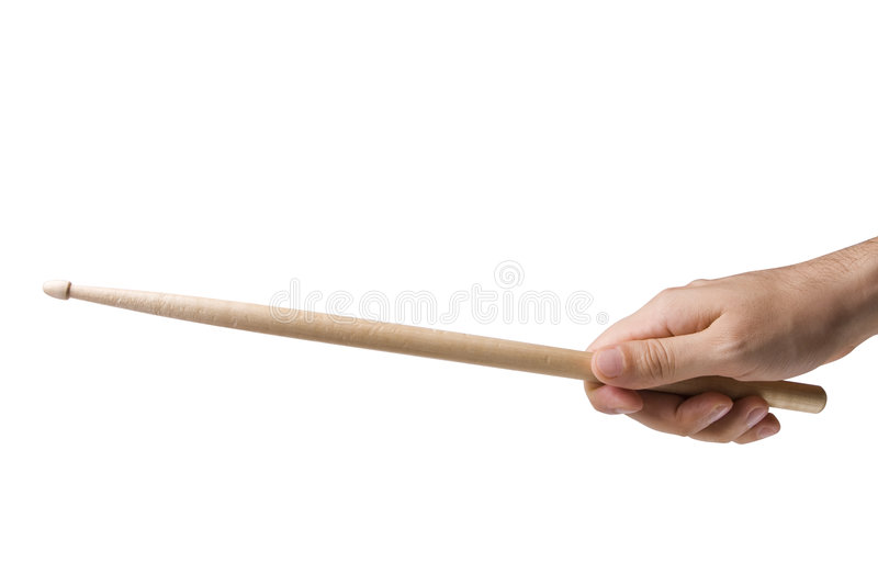 Hand Holding Drum Stick. Isolated on white with clipping path royalty free stock photo