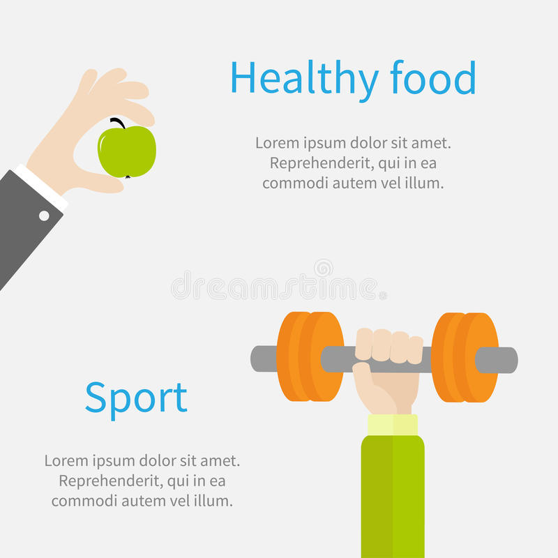 Hand holding dumbell Sport Fitness healthy lifestyle concept template Flat design. Vector illustration royalty free illustration