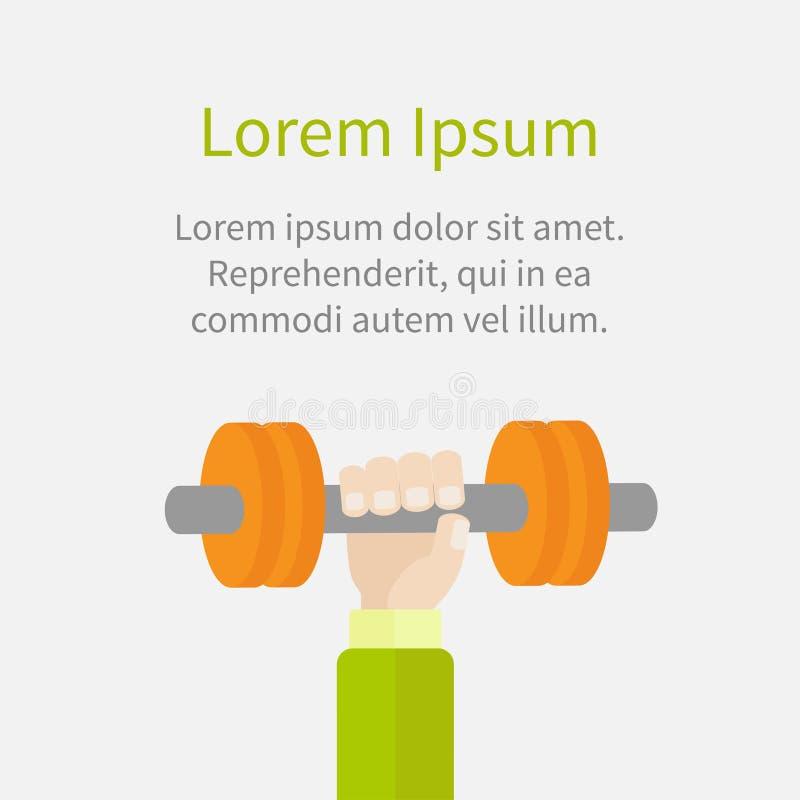 Hand holding dumbell Sport Fitness healthy lifestyle concept template Flat design. Vector illustration stock illustration