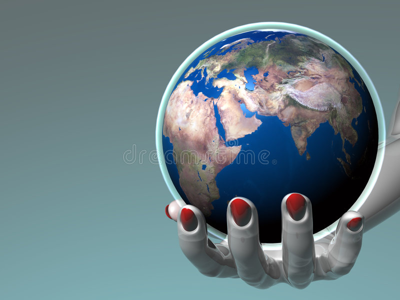 Hand holding Earth_Europe & Africa royalty free illustration