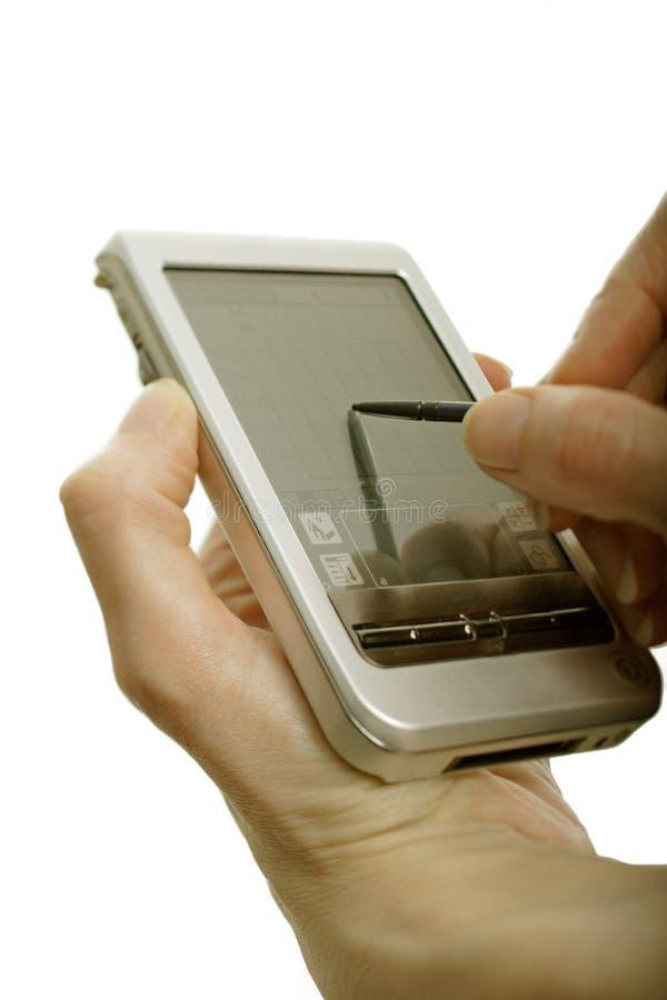 Hand holding electronic organizer